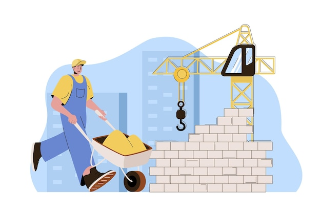 Real estate concept builder with wheelbarrow works at building site