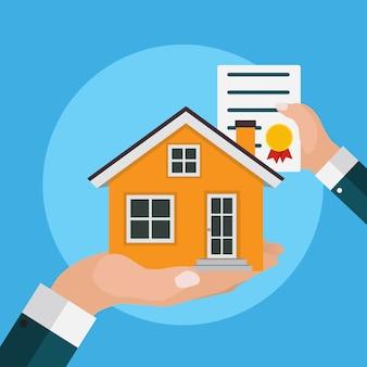 Real estate concept. buy house poster.  illustration