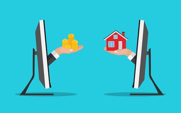부동산 개념. 집 건물에 돈을 지불하는 남자 손으로 집 포스터를 구입하십시오. 삽화
