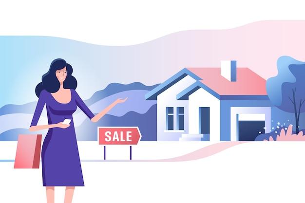 Понятие недвижимости. риэлтор и дом на продажу. покупка и продажа недвижимости. иллюстрация.