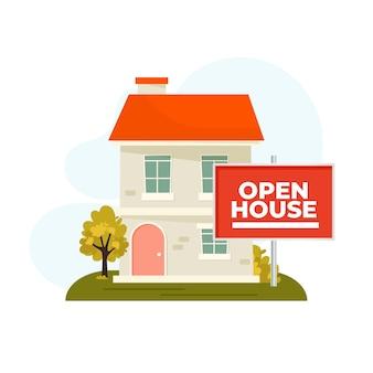 Concetto di bene immobile con il segno della casa aperta