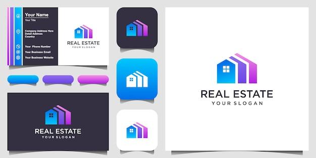 Дизайн логотипа строительства недвижимости вдохновение. значок и визитная карточка