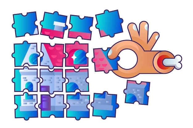 Real estate construction puzzle jigsaw art vector