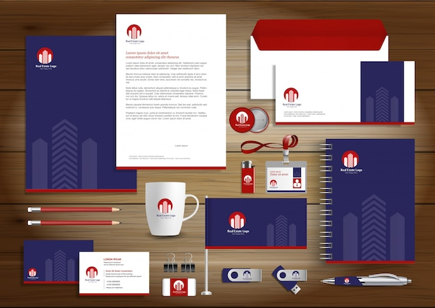 Real estate corporate identity vector stationery