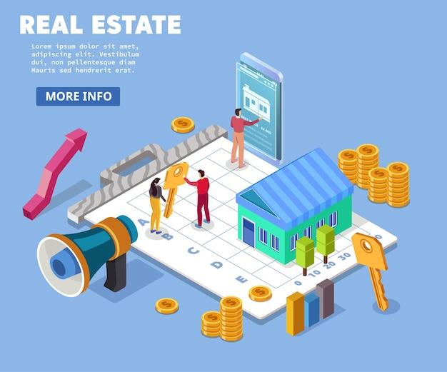 不動産費用費用値家賃価格の概念フラット。紙の広告の家の鍵計算機。