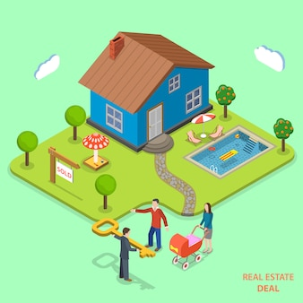 Real estate deal isometric flat vector concept.