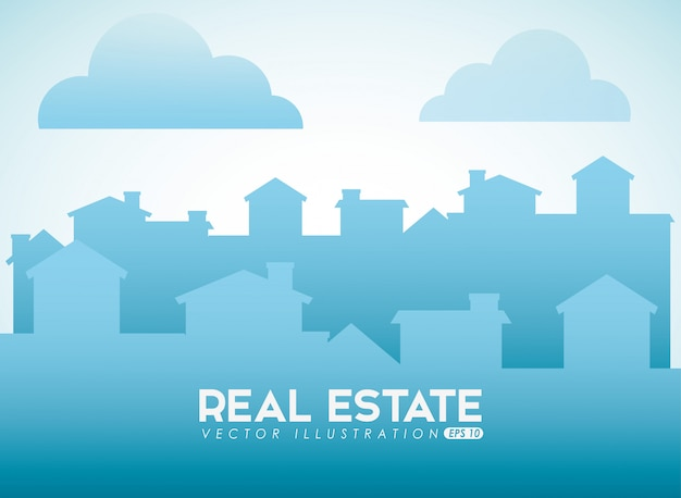 Real estate design with city silhouette