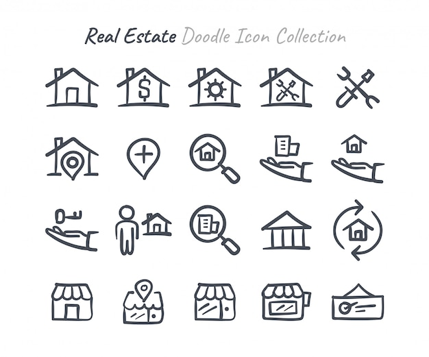 Real estate doodle icon collection