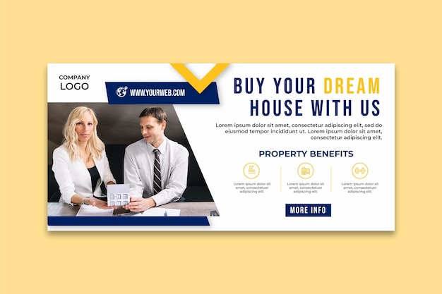 Real estate dream house banner template