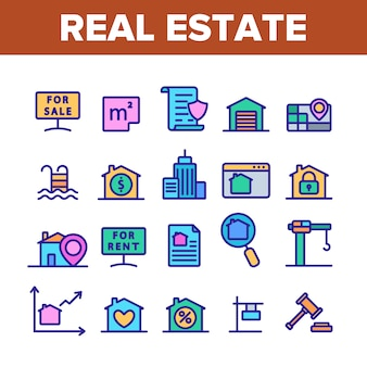 Real estate elements icons set