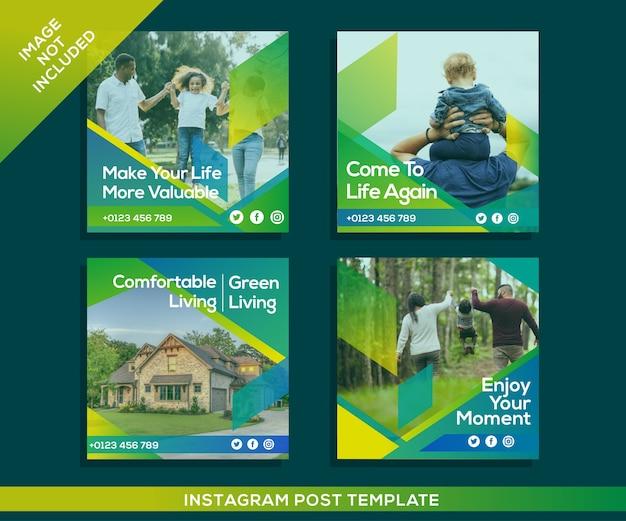 부동산 및 가족 소셜 미디어 인스 타 그램 게시물