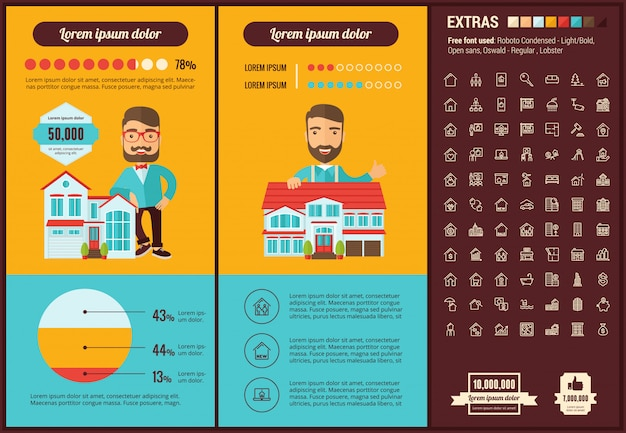 Real estate flat design infographic template and icons set