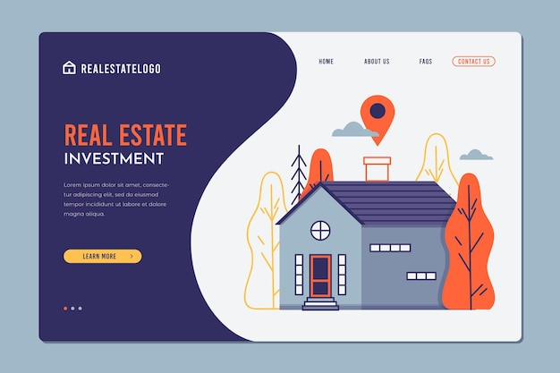 Real estate flat design landing page template with house