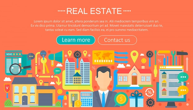 Real estate flat infographics template