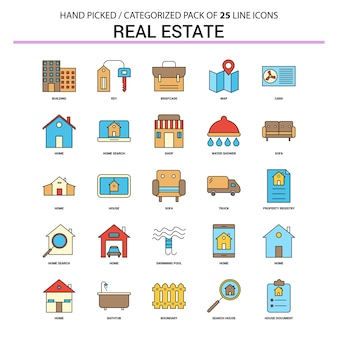 Real estate flat line icon set