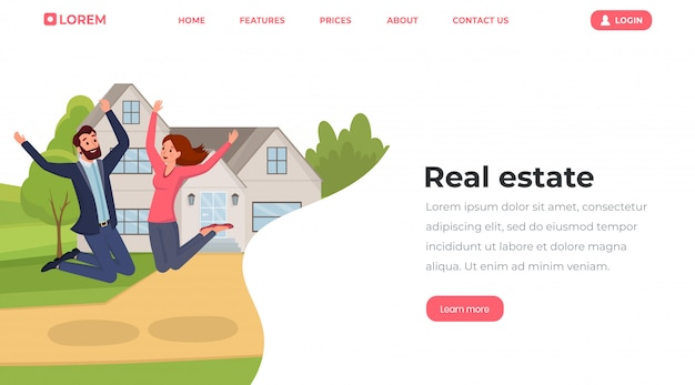 Real estate in in flat style style landing page template.