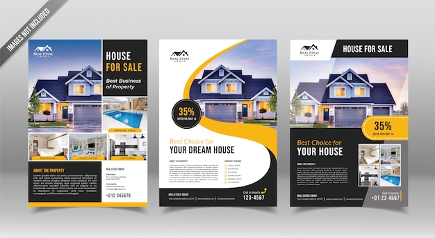 Real estate flyer or pamphlet design template. realtor