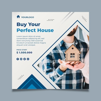 Real estate flyer square template