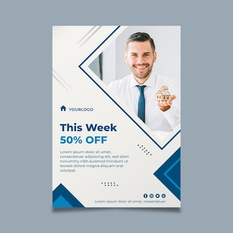 Real estate flyer vertical template