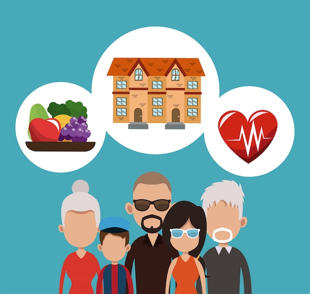 Real estate, food and health cartoons
