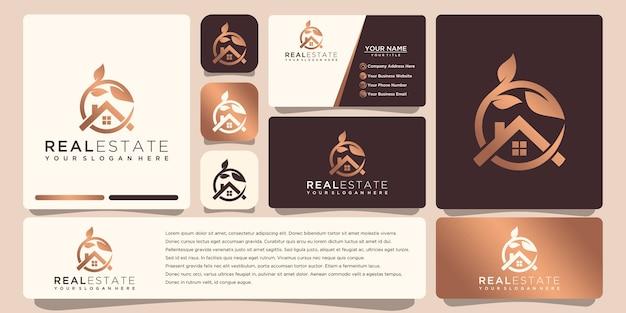 Золотой логотип недвижимости с визитной карточкой