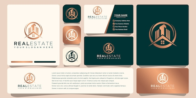 Real estate gold logo design with business card
