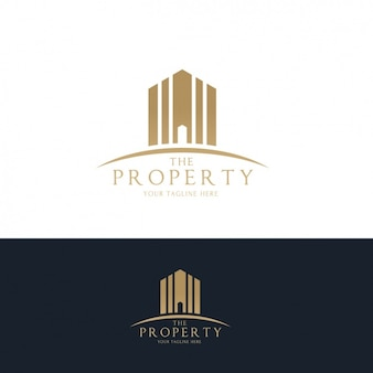 Real estate golden logos set