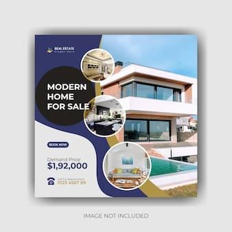 Недвижимость для продажи дома в социальных сетях пост баннер и квадратный флаер премиум векторы