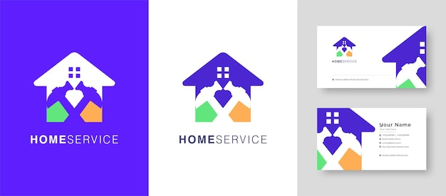 Real estate home logo fix  repair house or village vector logo design with a premium business card