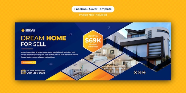 Real estate home for sale facebook cover banner advertising template design
