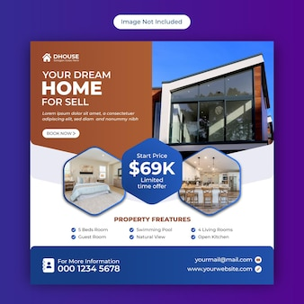 Real estate home for sale social media instagram post or square web banner advertising template