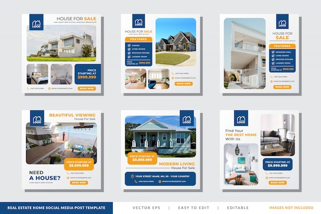 Real estate home social media post template