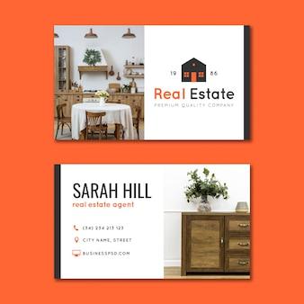 Горизонтальная визитная карточка недвижимости