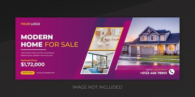 Real estate house facebook cover banner template premium vector