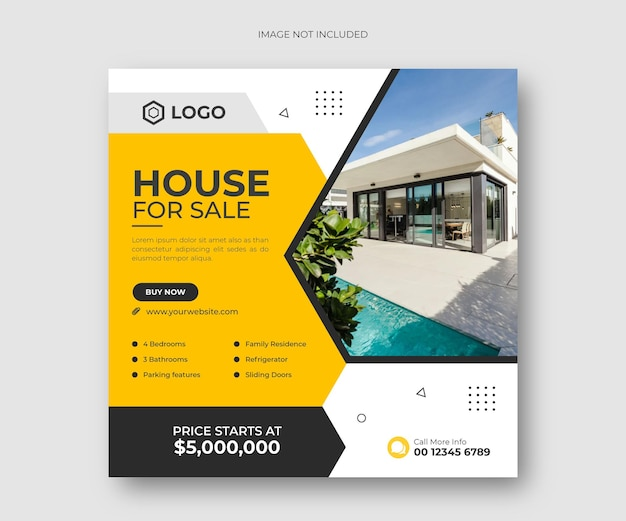 Дом недвижимости для продажи в социальных сетях пост баннер или квадратный флаер шаблон