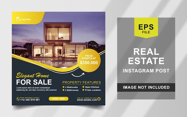 Real estate house instagram post square banner template
