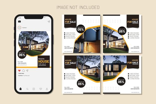 Недвижимость дом продажа недвижимости пост в социальных сетях и набор постов в instagram