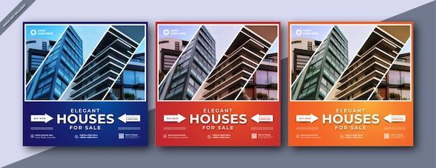 Real estate house property social media or instagram square posttemplate