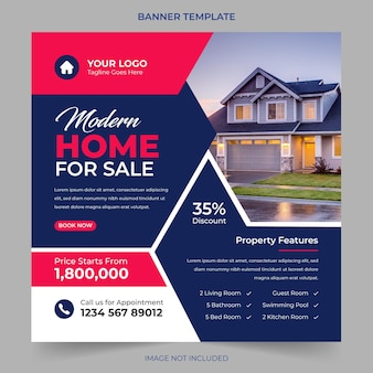 부동산 주택 판매 및 주택 임대 광고 기하학적 현대 광장 소셜 미디어 게시물 배너