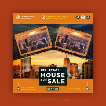 Real estate house for sale concept ad social media banner instagram ad post template