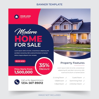 Real estate house sale and home rent advertising geometric modern square social media post banner