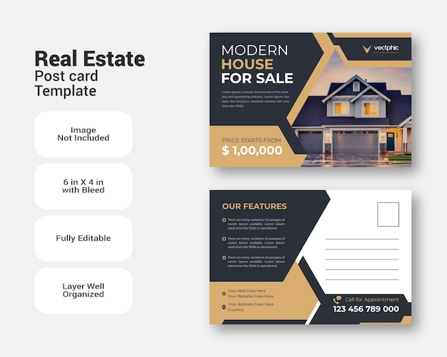 Шаблон оформления открытки продажи недвижимости