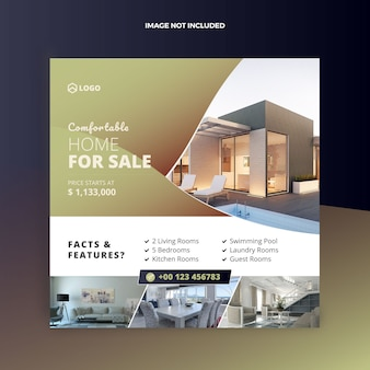 Real estate house sale social media post and web banner