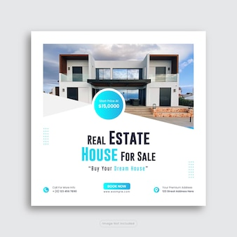 Real estate house social media post or home sale square banner template premium vector
