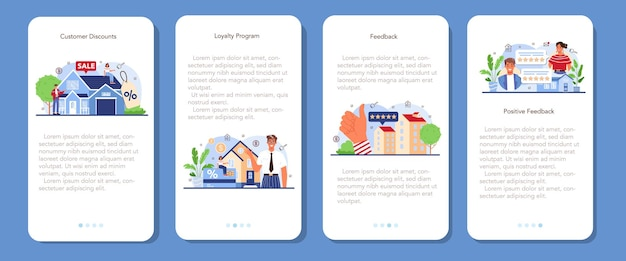 Real estate industry mobile application banner set. positive feedback