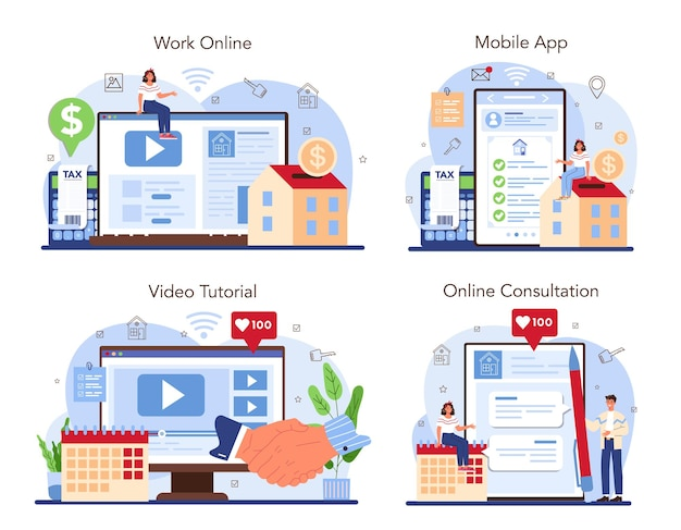 Real estate industry online service or platform set realtor assistance