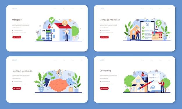 부동산 업계 또는 부동산 중개인 웹 배너 또는 방문 페이지 세트
