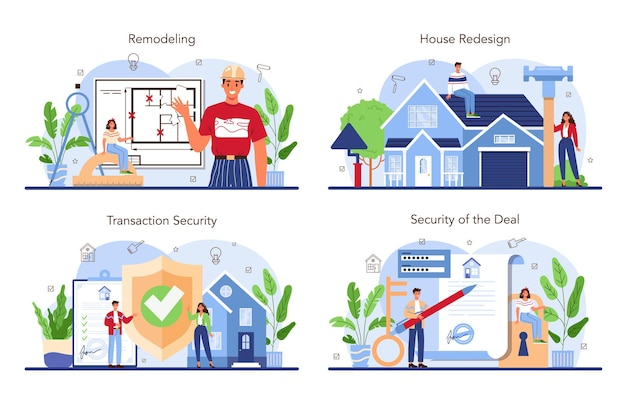 Real estate industry set house remodeling or redesign after the purchase
