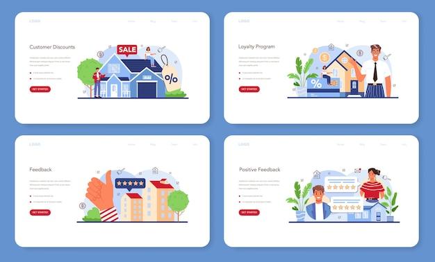 Real estate industry web banner or landing page set. positive feedback