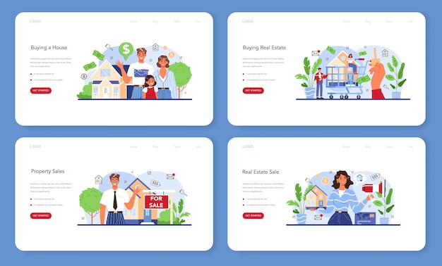 Real estate industry web banner or landing page set. property buying and selling. realtor assistance and help in house selection and mortgage contract development. flat vector illustration